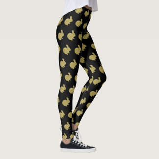 Gold Glitter Silhouette Bunny Rabbit Leggings