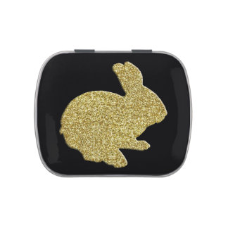 Gold Glitter Silhouette Easter Bunny Candy Tin