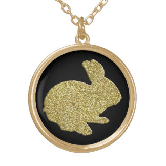 Gold Glitter Silhouette Easter Bunny Necklace