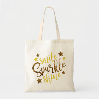 Gold Glitter Smile Sparkle Shine Typography Tote Bag