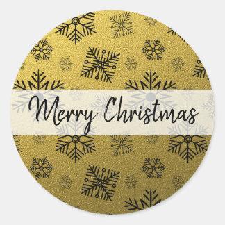 Gold Glitter Snowflake Merry Christmas Classic Round Sticker