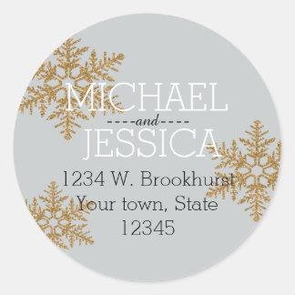 Gold Glitter Snowflake Personalized address Classic Round Sticker
