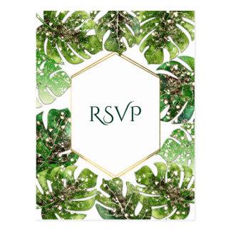 Gold Glitter Sparkle Tropical Leaves Wedding RSVP Postcard