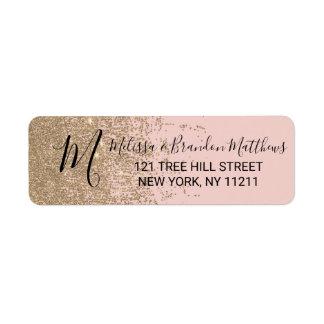 Gold Glitter Sparkles Blush Pink Address Return Address Label
