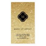 Gold Glitter Sparkles Chic Quatrefoil Profile Card