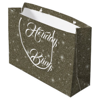 Gold Glitter Sparkles Effect Holiday Gift Bag