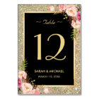 Gold Glitter Sparkles Floral Wedding Table Number