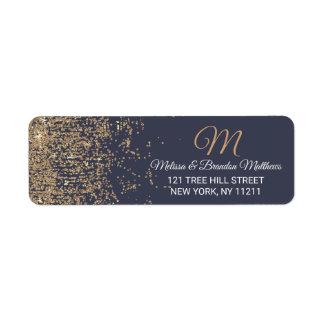 Gold Glitter Sparkles Navy Blue Address Return Address Label