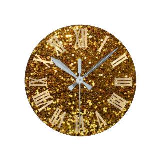 Gold Glitter Sparkly Metallic Roman Numers Round Clock