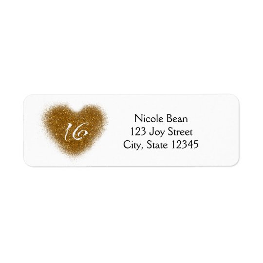 Gold Glitter Spill Sweet 16 Heart Party Labels