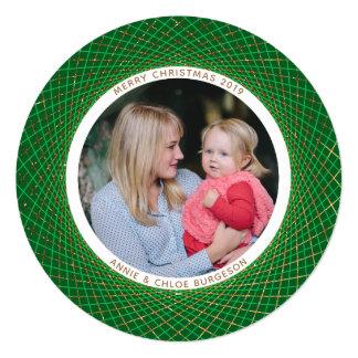 Gold Glitter Spirograph Green Christmas Card