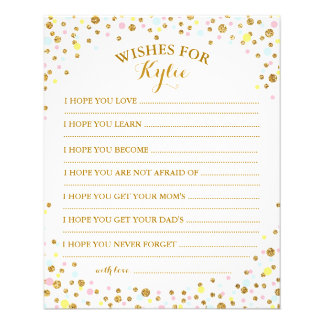 Gold Glitter Sprinkle Confetti Baby Wish Card