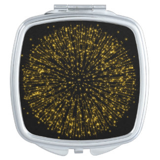 Gold Glitter Starburst Sunburst Firework Sparkle Compact Mirrors