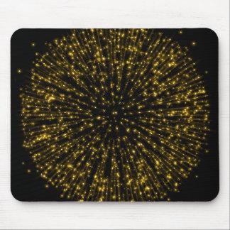 Gold Glitter Starburst Sunburst Firework Sparkle Mouse Pad