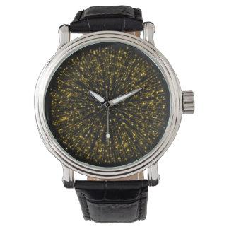 Gold Glitter Starburst Sunburst Firework Sparkle Watch