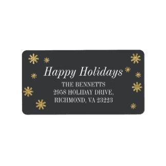 Gold Glitter Stars Holiday Return Address Label