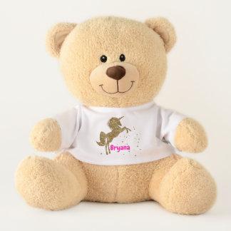 Gold Glitter Stars Unicorn Cute Personalized Teddy Bear