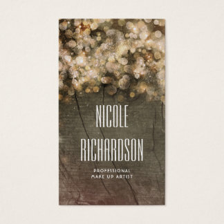 Gold Glitter String Lights Rustic Barn Wood Business Card