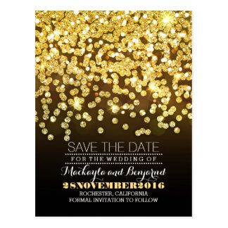 Gold glitter string of lights glitz save the date postcard