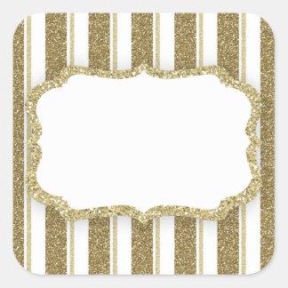 Gold Glitter Stripe - CUSTOMIZE Square Sticker