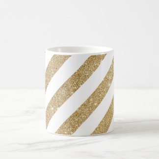Gold Glitter Stripe Glam White Coffee Mug