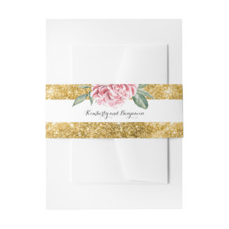 Gold Glitter Stripes and Pink Flower White Wedding Invitation Belly Band