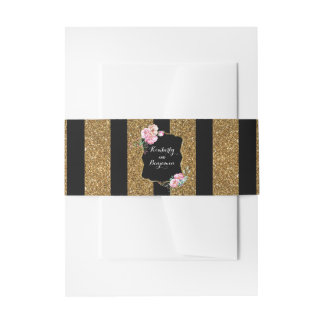 Gold Glitter Stripes and Pink Flowers Chic Wedding Invitation Belly Band