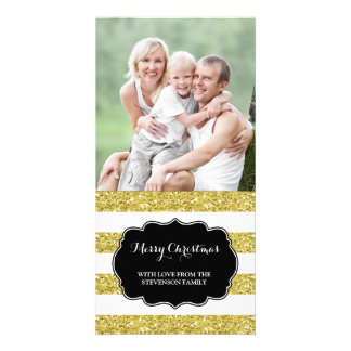 Gold Glitter Stripes Merry Christmas Photo Card