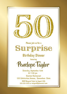 Gold Glitter Surprise 50th Birthday Dinner Party Invitation