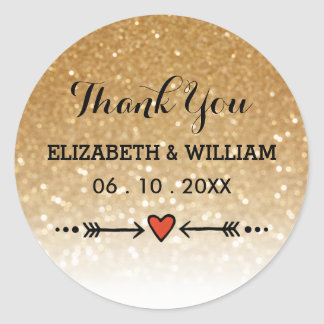 Gold Glitter + Sweethearts Arrow Wedding Thank You Round Sticker