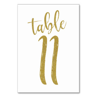 Gold Glitter Table Number 11
