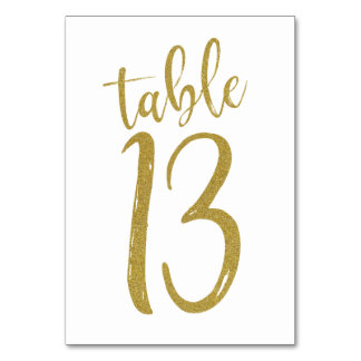 Gold Glitter Table Number 13