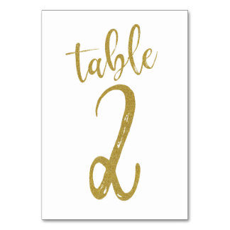 Gold Glitter Table Number 2