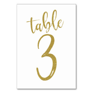 Gold Glitter Table Number 3