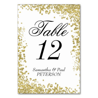 "Gold Glitter Table Number Card, 3.5"" x 5"""