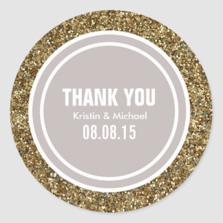 Gold Glitter Taupe Custom Thank You Label Round Sticker
