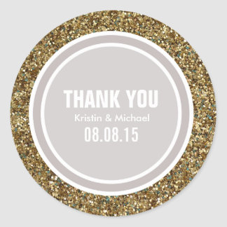Gold Glitter & Taupe Thank You Label Round Sticker