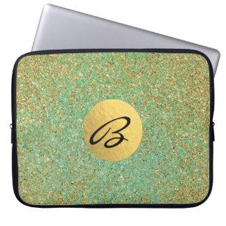 Gold Glitter Teal Aqua Green Glam Trendy Laptop Sleeve