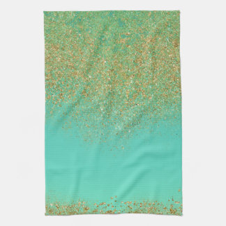 Gold Glitter & Teal Aqua Modern Girly Trendy Glam Tea Towel