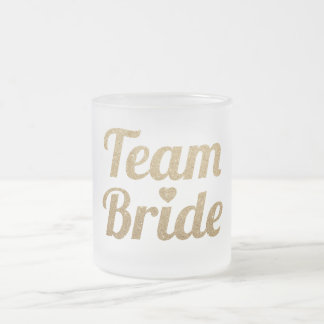Gold Glitter Team Bride Bachelorette Frosted Mug