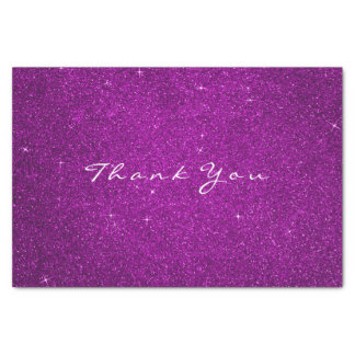 Gold Glitter Thank You Fuchsia Pink Rose Tissue Paper