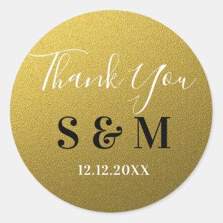 Gold Glitter Thank You Monogram Classic Round Sticker