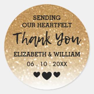 Gold Glitter Thank You Sticker Heart-Felt Wedding
