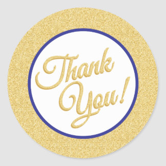 Gold Glitter Thank You Stickers
