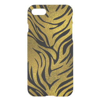 Gold  Glitter Tiger   pattern print on black iPhone 8/7 Case