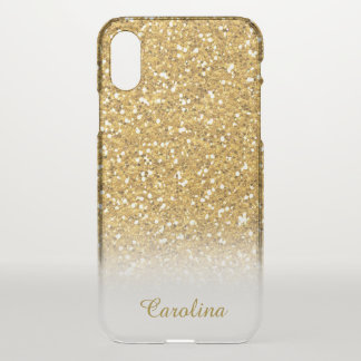 Gold Glitter Translucent, Personalised with Name iPhone X Case