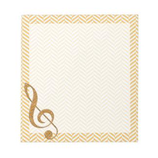 Gold Glitter Treble Clef on Yellow Chevron Notepad