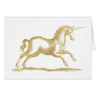 Gold Glitter Unicorn Fantasy Card