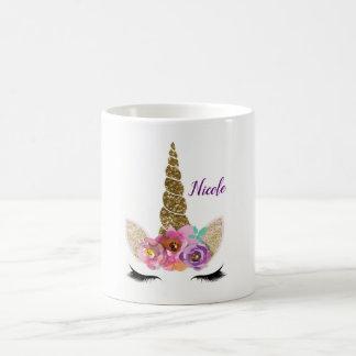 Gold Glitter Unicorn Horn Girls Glam Personalized Coffee Mug
