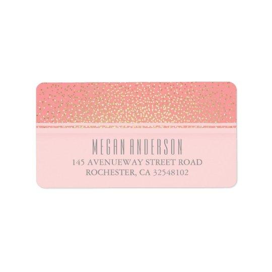 Gold Glitter Vintage Glamour Pink Wedding Address Label